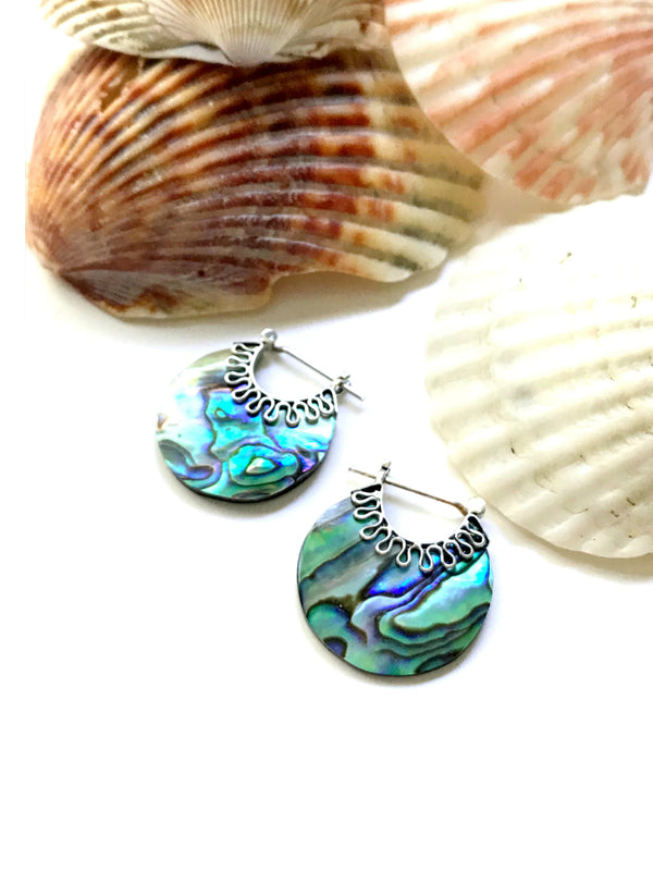 Handmade Abalone Hoops | Sterling Silver Earrings | Light Years Jewelry