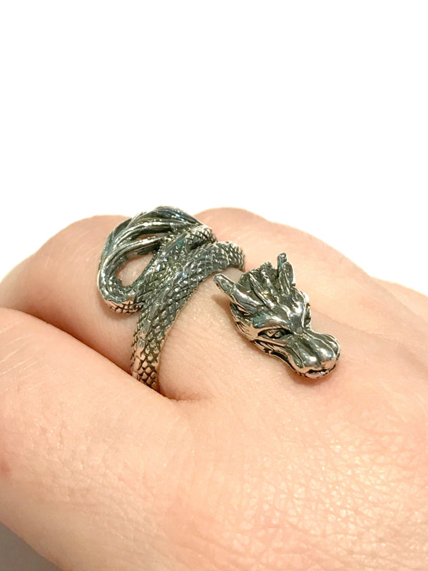 Detailed Dragon Wrap Ring | Sterling Silver Size 7 8 9 10 | Light Years