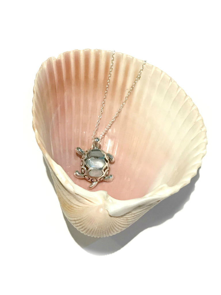 Mother of Pearl Turtle Necklace | Sterling Silver Pendant | Light Years