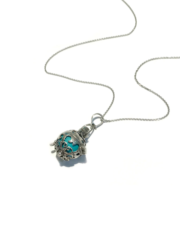 Caged Turquoise Harmony Ball Necklace | Sterling Silver | Light Years