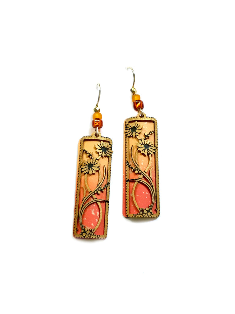 Coral Orange Daisy Dangles Sienna Sky | Gold Fill Earrings | light Years