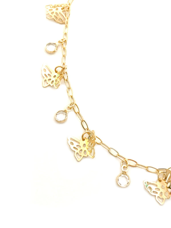 Butterfly & Crystal Charm Necklace | Gold Chain | Light Years Jewelry