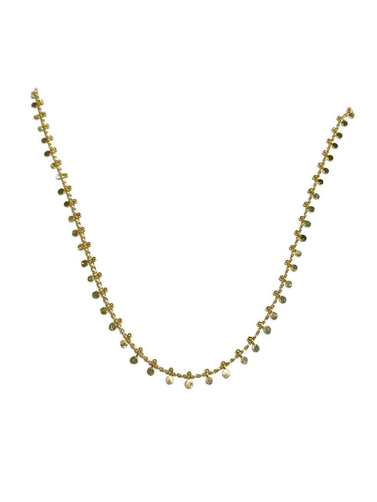Long Disc Confetti Necklace | Gold Plated Chain | Light Years Jewelry