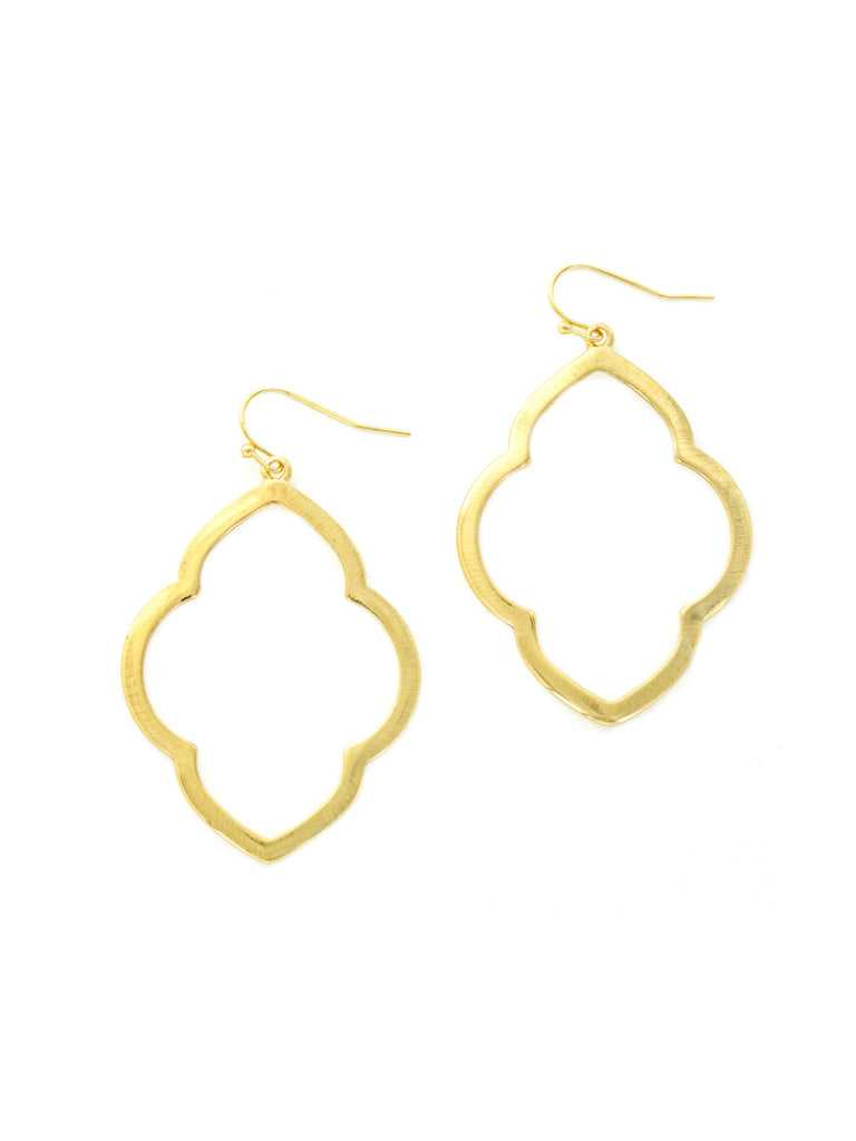 Golden Quatrefoil Dangles | God Plated Statement Earrings | Light Years