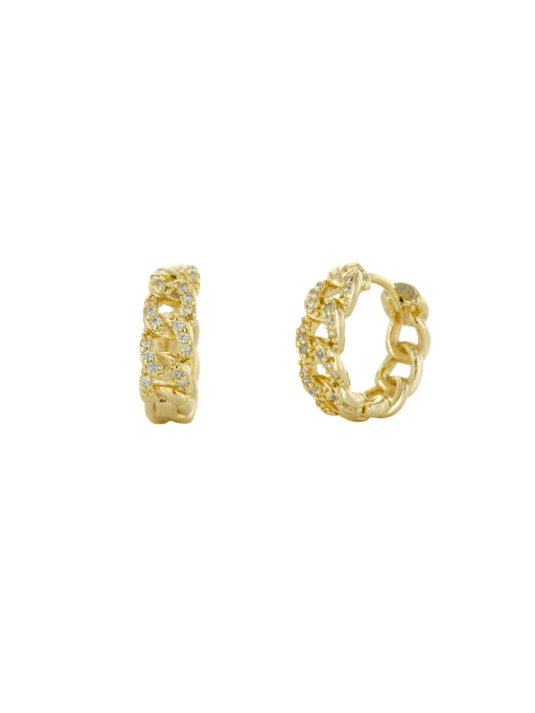 CZ Chain Link Huggie Hoops | Gold Plated Earrings | Light Years Jewelry
