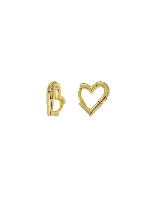 Heart Shaped Huggie Hoops | Trendy Gold Plated Earrings | Light Years