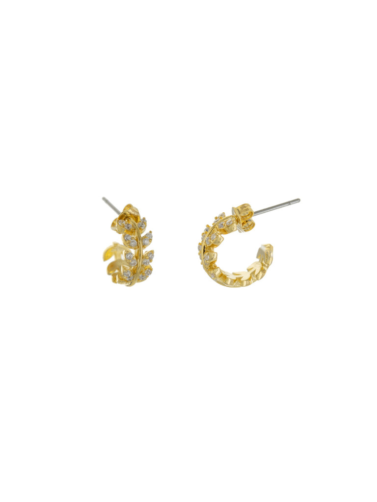 CZ Fern Leaf Post Hoops | Gold Plated Earrings | Light Years Jewelry
