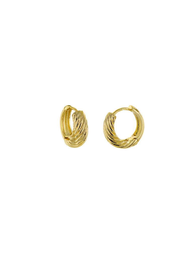 Thick Twisted Huggie Hoops | Gold Plated Trendy Earrings | Light Years