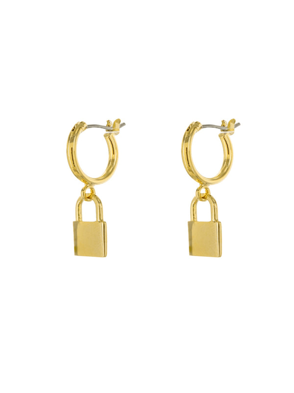 Padlock Charm Pincatch Hoops | Gold Plated Earrings | Light Years Jewelry