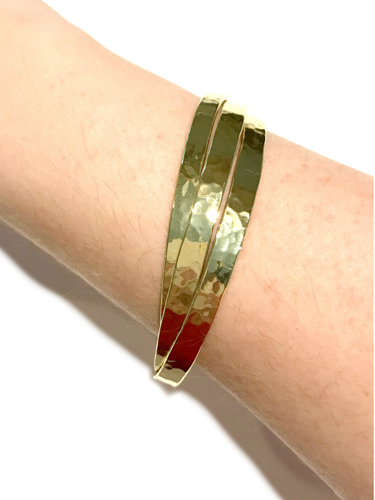 Three Row Hammered Cuff Bracelet | Gold Plated | Light Years Jewelry