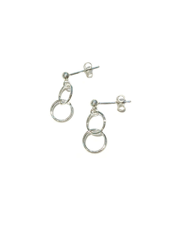 Double Ring Posts | Sterling Silver Studs Earrings | Light Years Jewelry