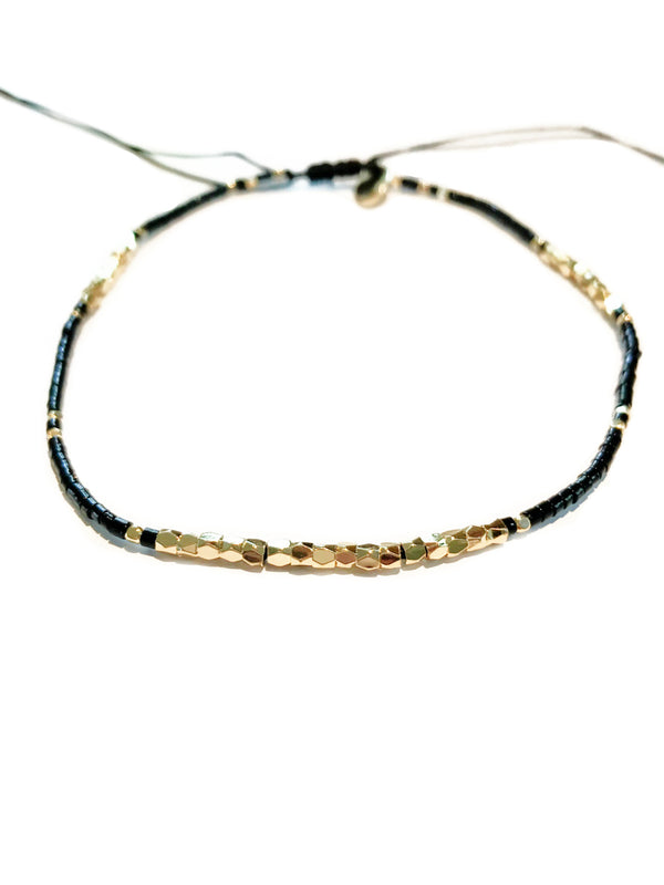 Black & Gold Beaded Anklet | Adjustable Fashion Bracelet | Light Years