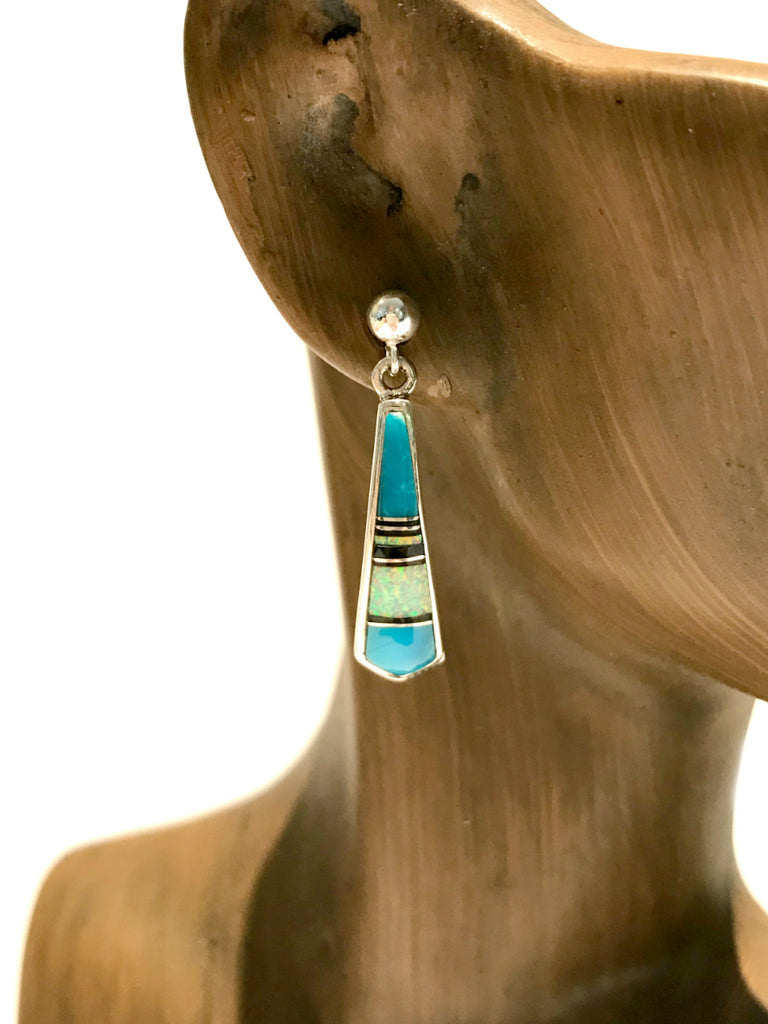 Turquoise Opal Inlay Post Earrings | Sterling Silver Studs | Light Years