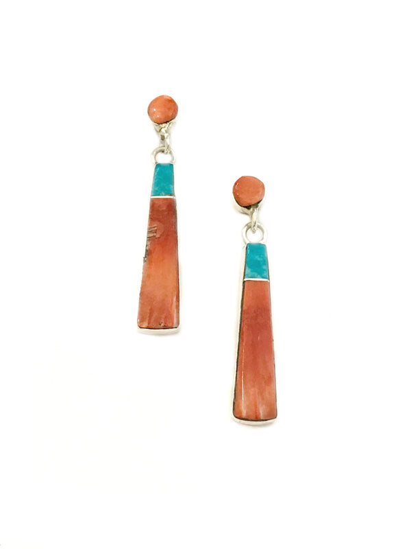 Coral & Turquoise Bar Post Earrings | Sterling Silver Studs | Light Years