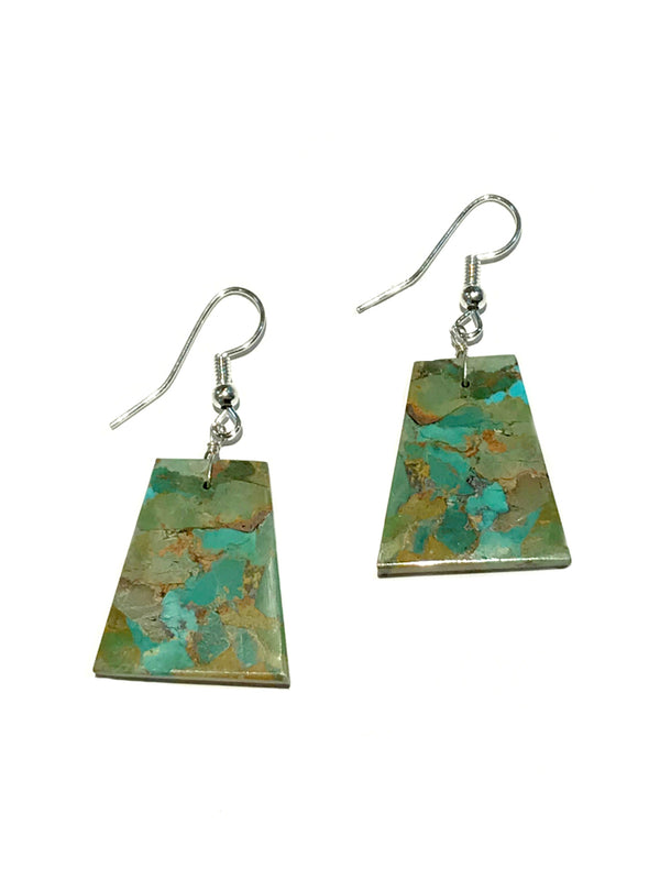 Geometric Turquoise Slab Dangles | Navajo Earrings USA | Light Years