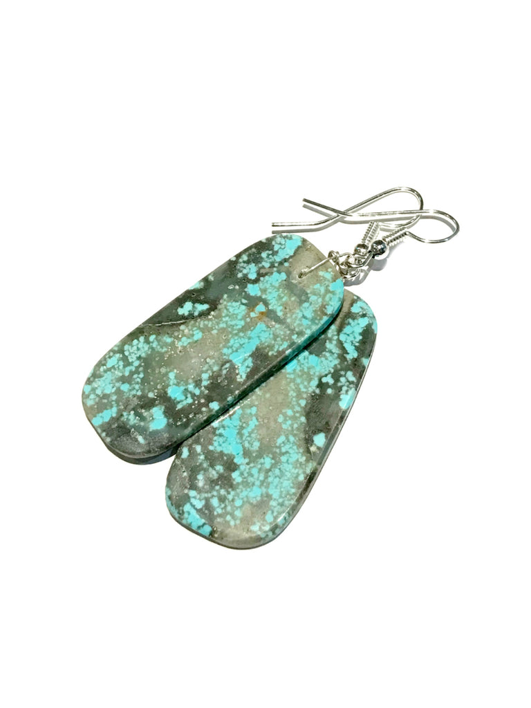 Number 8 Turquoise Slab Dangles | Sterling Silver Earrings | Light Years