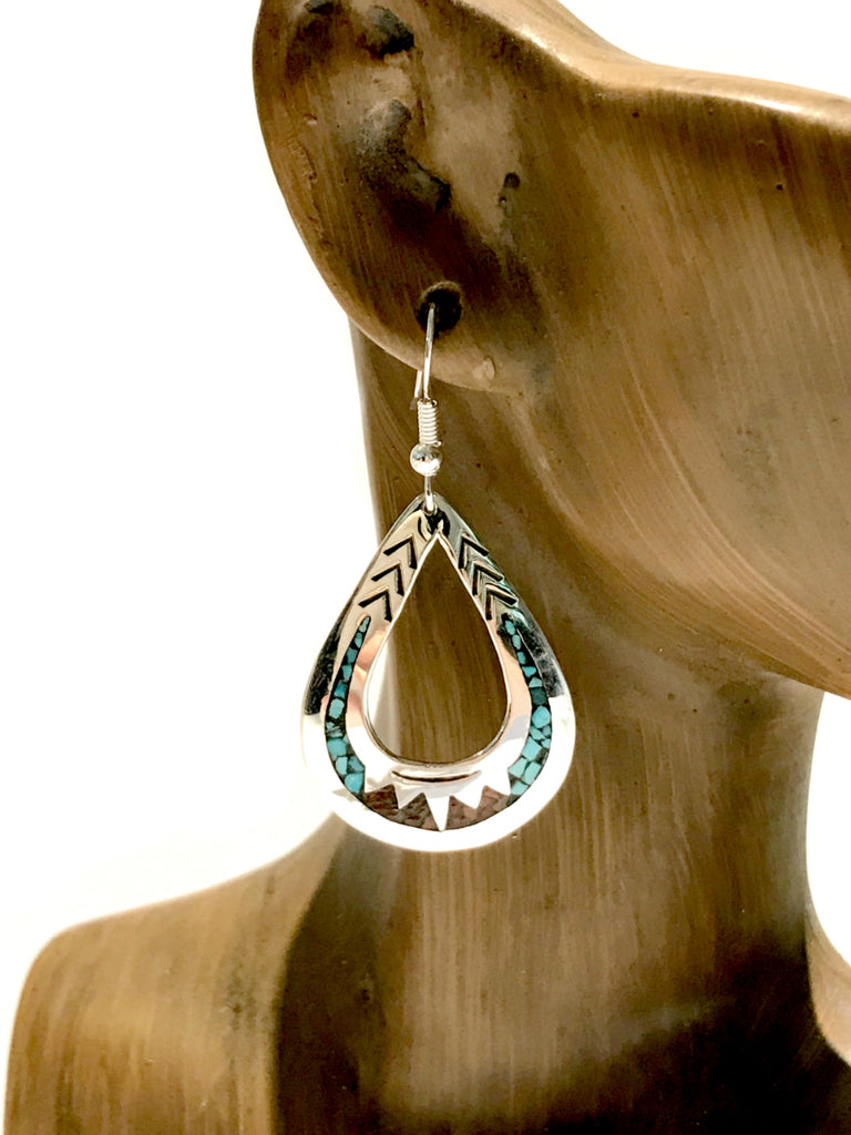 Navajo Stone Chip Inlay Dangles | Sterling Silver Earrings | Light Years