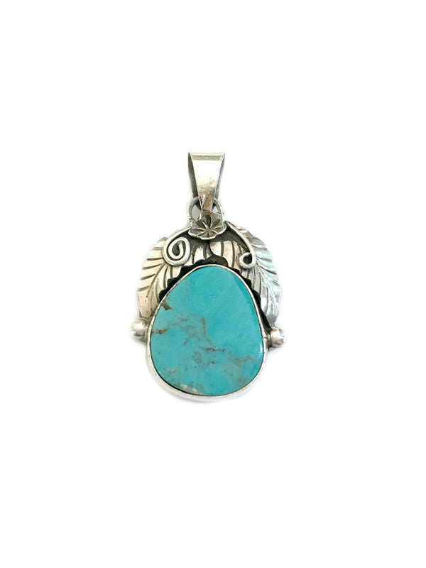 Navajo Turquoise & Feather Pendant | Sterling Silver | Light Years
