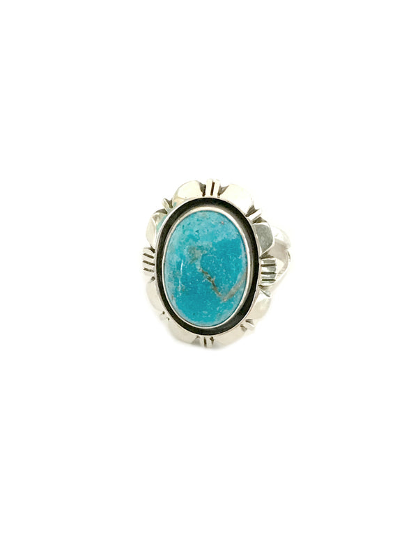 Navajo Turquoise Statement Ring | Sterling Silver 7 9 10 | Light Years
