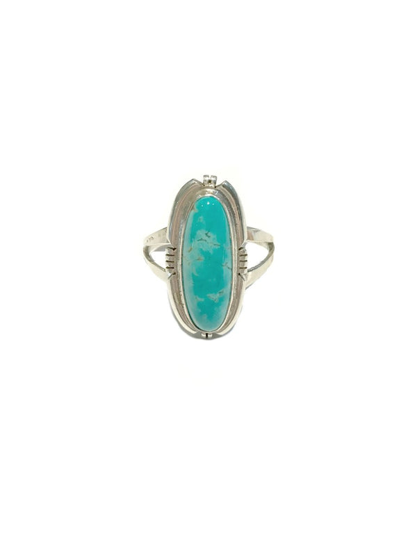 Long Turquoise Navajo Ring | Sterling Silver Size 7 8 9 10 | Light Years
