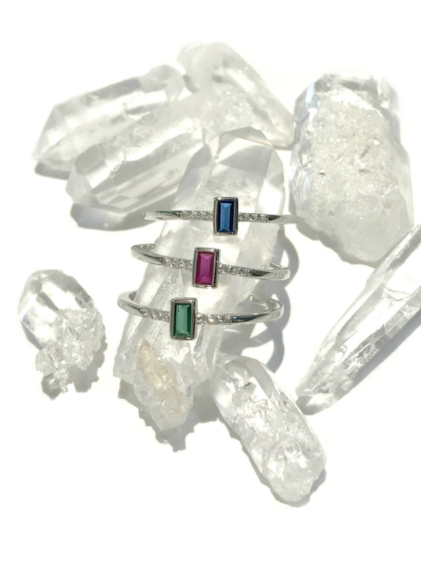 CZ Baguette Ring | Red Green Blue 5 6 7 8 Sterling Silver | Light Years