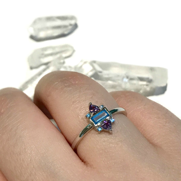 Stacked Purple Blue Crystal Ring | Sterling Silver 5 6 7 8 | Light Years