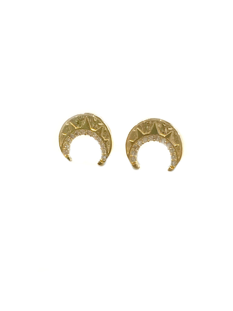CZ Lined Crescent Posts | 14kt Gold Vermeil Studs Earrings | Light Years