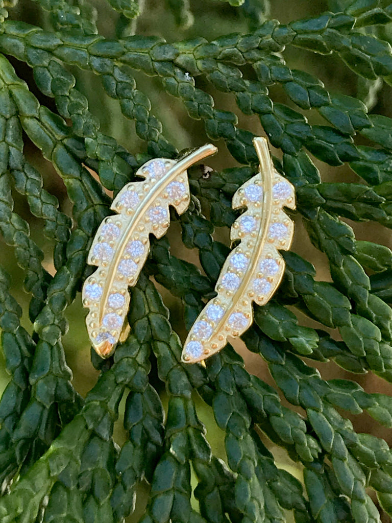 CZ Feather Climber Earrings | 14kt Gold Vermeil | Light Years Jewelry