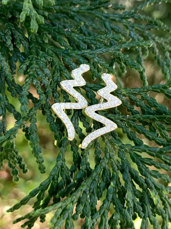 CZ Zigzag Climber Earrings | 14kt Gold Vermeil | Light Years Jewelry