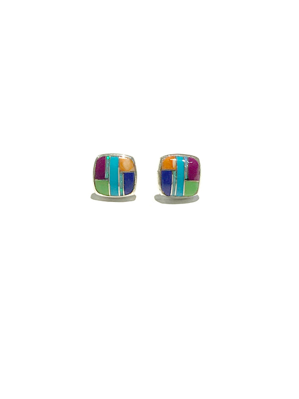 Multi Gemstone Inlay Posts | Sterling Silver Stud Earrings | Light Years