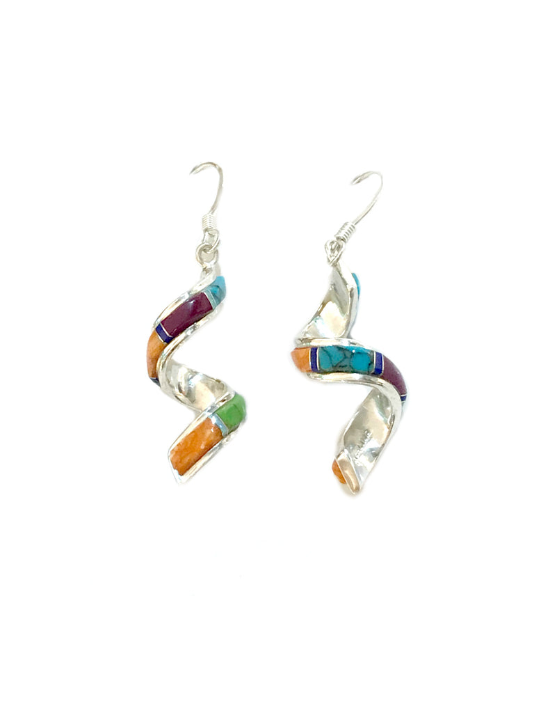 Curled Gemstone Inlay Dangles | Sterling Silver Earrings | Light Years