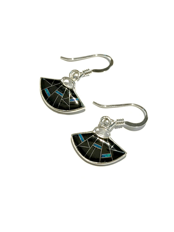 Onyx & Opal Fan Dangles | Sterling Silver Earrings | Light Years Jewelry