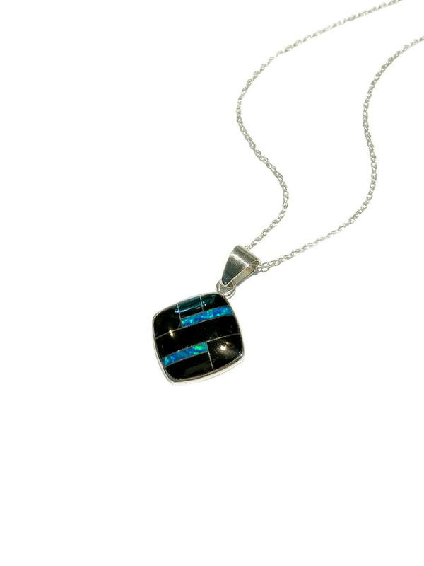 Onyx Opal Inlay Necklace | Sterling Silver Chain Pendant | Light Years