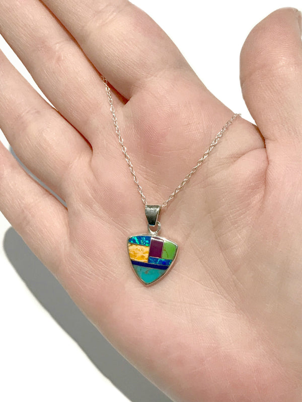 Inlaid Gemstone Triangle Necklace | Sterling Silver Chain | Light Years