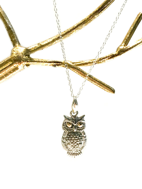Golden Eyed Owl Necklace | Sterling Silver Pendant Chain | Light Years