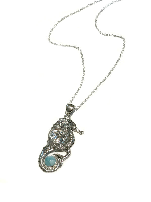 Mermaid Larimar Necklace | Sterling Silver Chain Pendant | Light Years