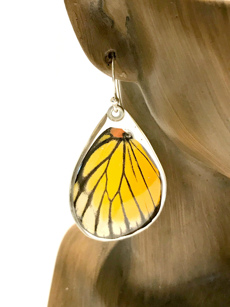Red Spot Sawtooth Butterfly Wing Earrings | Sterling Silver | Light Years