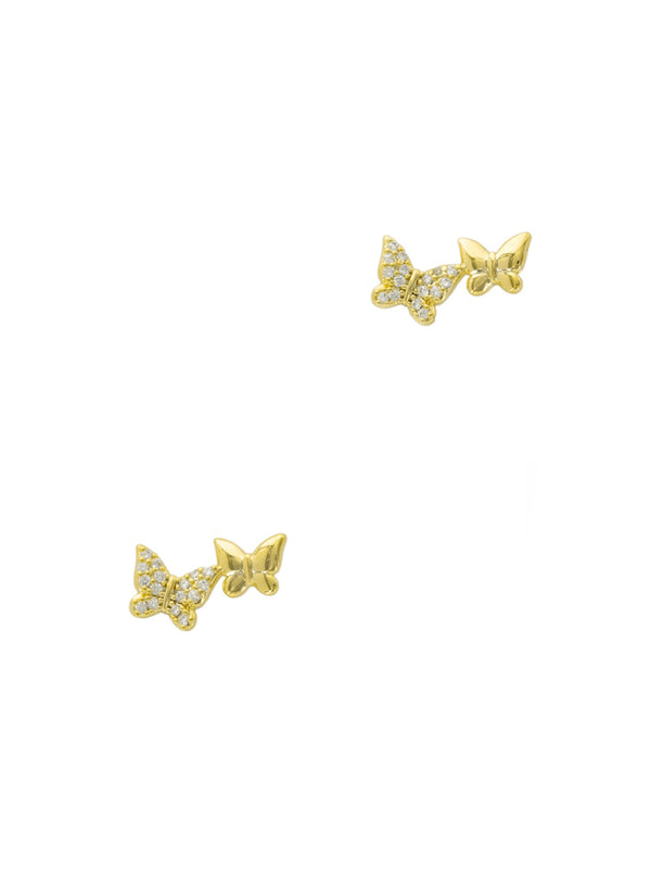 Double CZ Butterfly Posts | Gold Plated Studs Earrings | Light Years