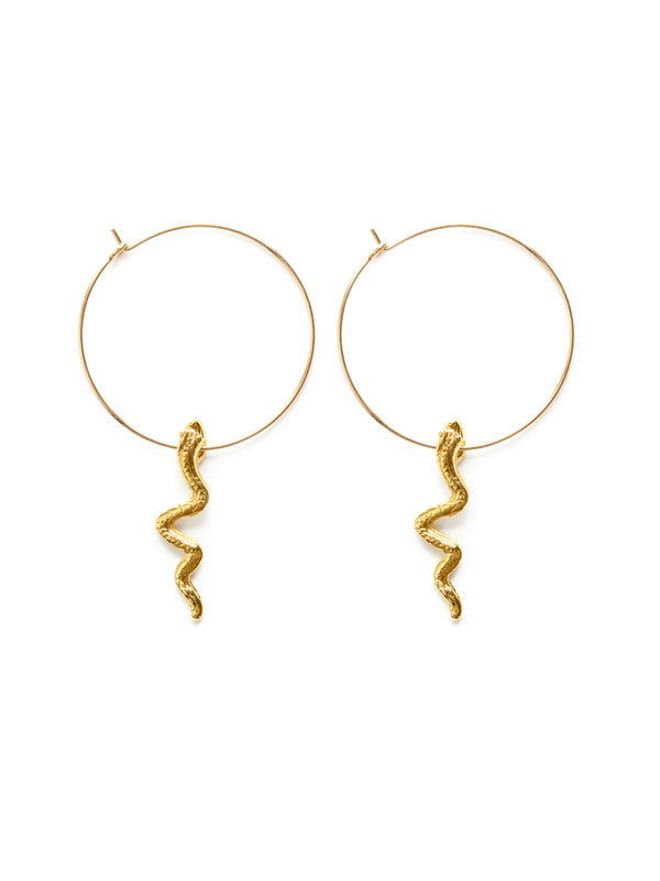 Snake Charm Hoops | Gold Filled Earrings USA Made | Light Years Jewelry
