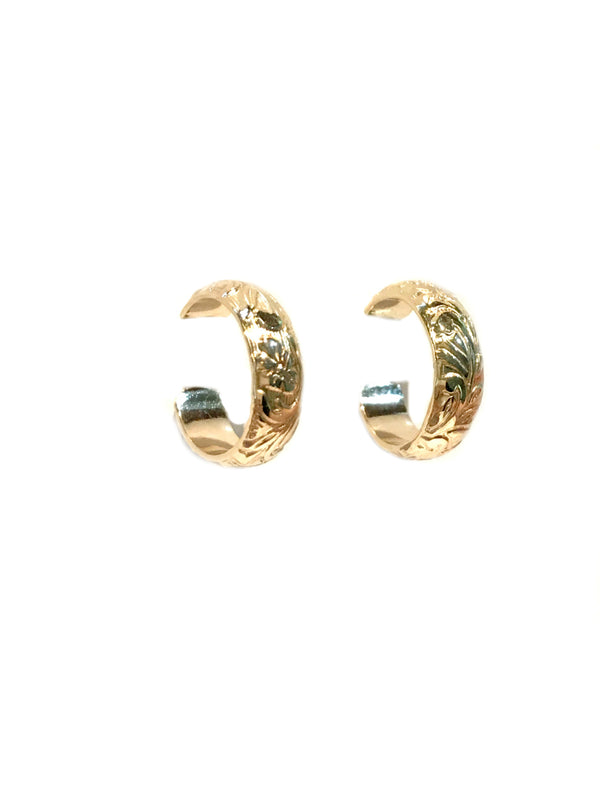 Engraved Flower Post Hoops | 14k Gold Filled Earrings | Light Years