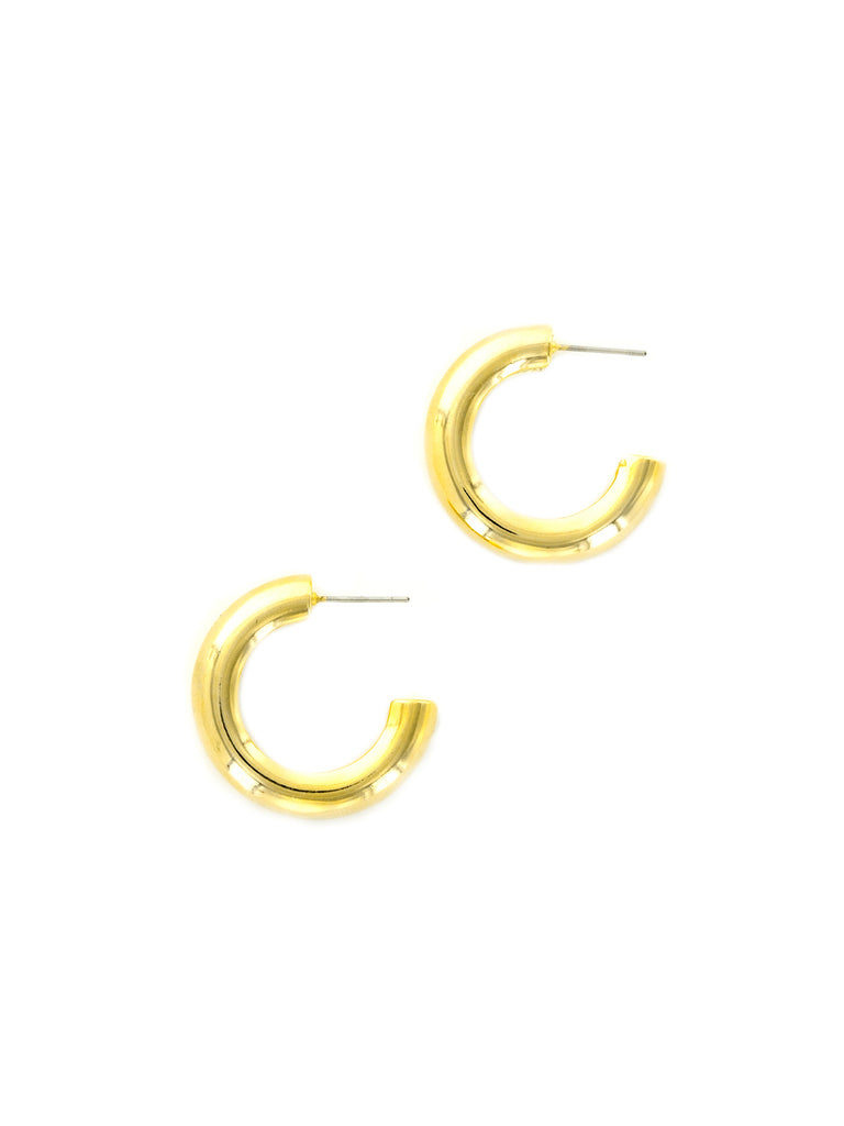 Thick Tube Hoops | Gold Plated 30mm Post Earrings | Light Years Jewelry