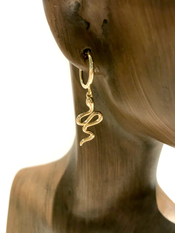 Snake Charm Hoops | Gold Plated Pincatch Earrings | Light Years Jewelry