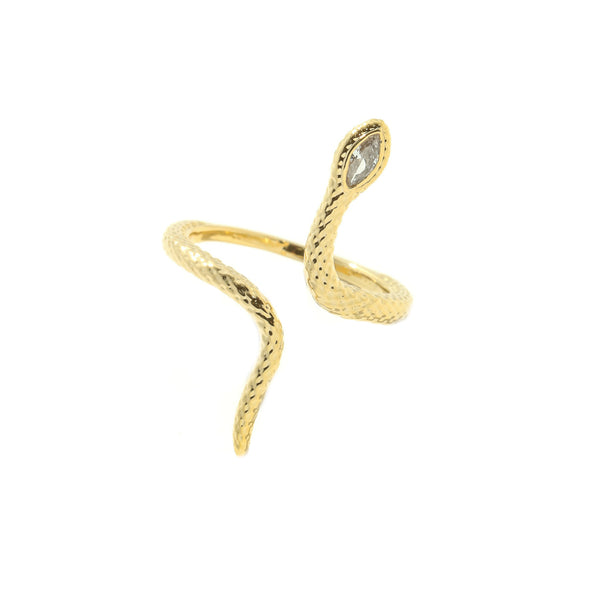 CZ Snake Wrap Ring | Adjustable Gold Plated Size 7 8 | Light Years