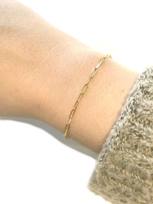 "Paperclip Chain Link Bracelet | Gold Vermeil 7"" 8"" 