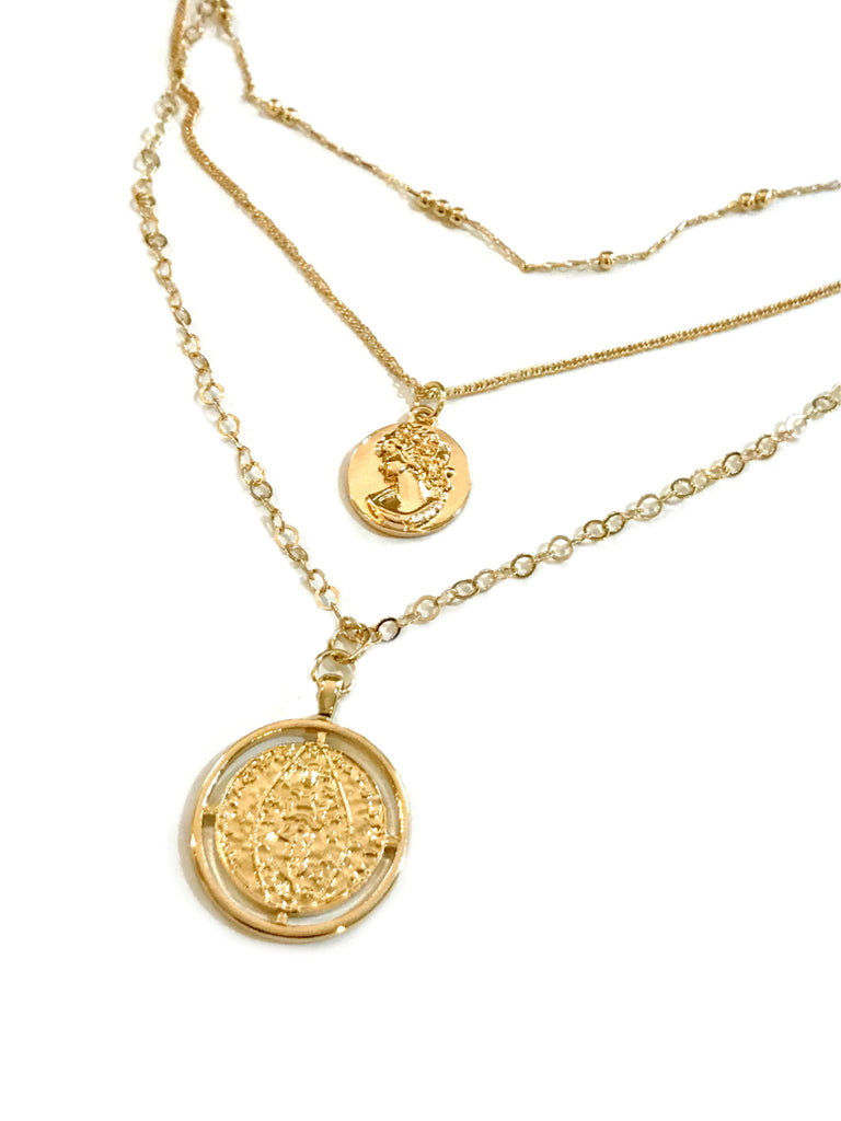 Layered Medallion Necklace | Gold Chain Cameo Pendant | Light Years