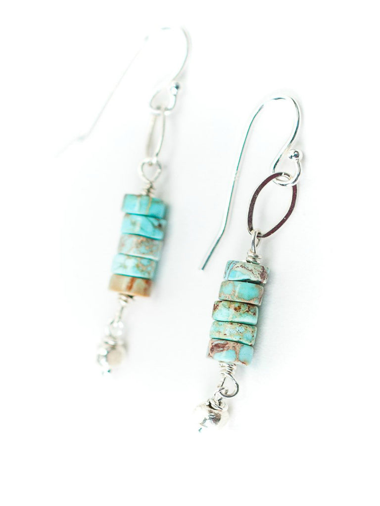 Stacked Heishi Turquoise Dangles | Sterling Silver Earrings | Light Years
