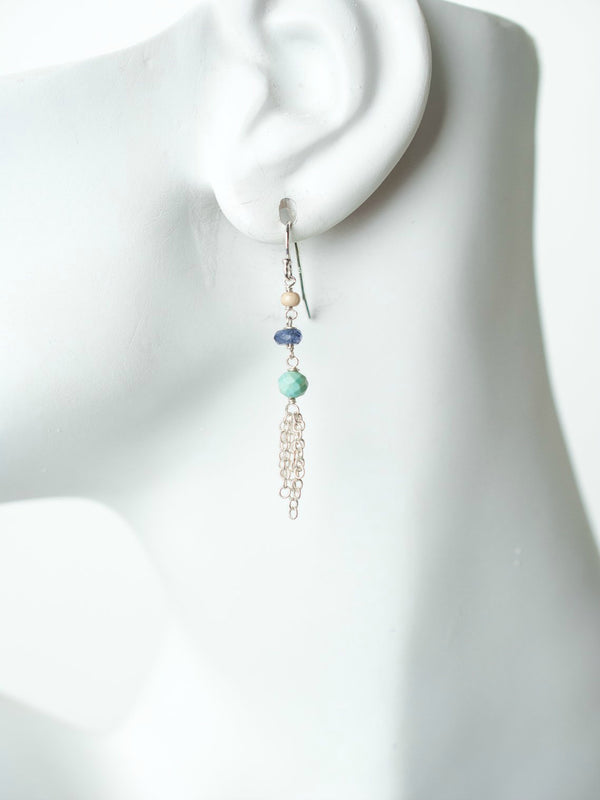 Fresh Air Gemstone Tassel Dangles | Sterling Silver Earrings | Light Years