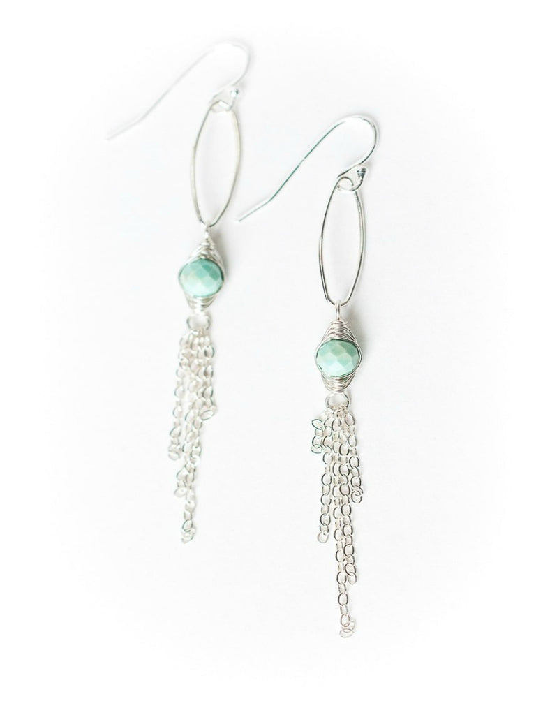 Chalk Turquoise Tassel Dangles | Sterling Silver Earrings | Light Years