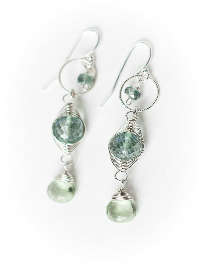 Green Amethyst Orbital Dangles | Sterling Silver Earrings | Light Years