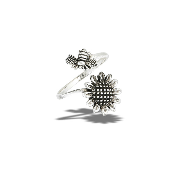 Bee Sunflower Wrap Ring | Sterling Silver Size 6 7 8 9 10 | light Years
